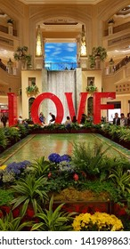 LAS VEGAS, U.S.A. - MAY 23, 2019: Love sign in the atrium of the Venetian hotel and casino in Las Vegas.