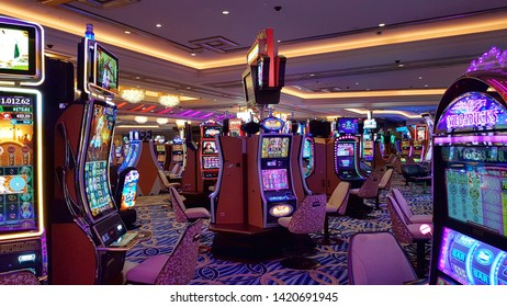LAS VEGAS, U.S.A. - MAY 23, 2019: The casino at the Venetian hotel in Las Vegas.