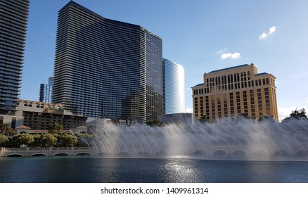 LAS VEGAS, U.S.A. - MAY 24, 2019: The water fountain at the Bellagio hotel in Las Vegas, U.S.A.