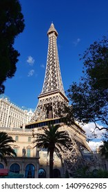 LAS VEGAS, U.S.A - MAY 24, 2019: The Eiffel Tower replica at the Paris Hotel in Las Vegas.