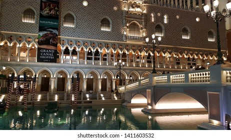 LAS VEGAS, U.S.A. - MAY 24, 2019: A view of the exterior of the Venetian casino resort in Las Vegas.