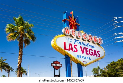 Las Vegas, USA - May 24 2018: View of Welcome to Fabulous Las Vegas sign on The Strip, Las Vegas Boulevard, Las Vegas, Nevada, USA, North America
