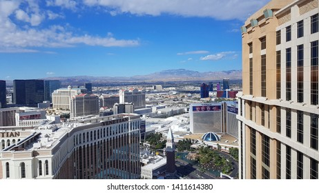 LAS VEGAS, U.S.A. - MAY 27, 2019: A view of the city of Las Vegas from a hotel top floor.
