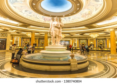 LAS VEGAS, USA - MAY 28, 2015: The Ceasars Palace interior in Las Vegas. Caesars Palace is a luxury hotel and casino located on the Las Vegas Strip