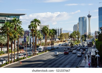 Las Vegas, USA - May 7, 2014: Aerial view of the strip with many lanes and cars during daytime