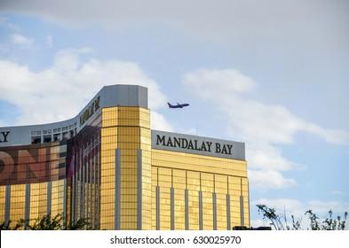 Las Vegas, USA - May 7, 2014: Mandalay Bay building exterior on strip with airplane