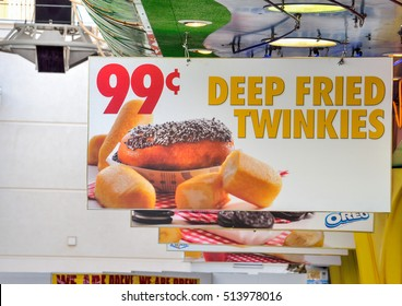 Las Vegas, USA - May 9, 2014: Billboard of advertisement for 99 cent deep fried twinkies