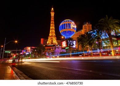 Las Vegas, USA - Monday, June 6, 2016 - View of Las Vegas street at night