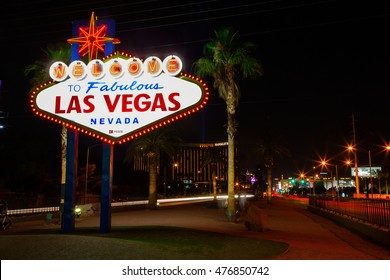Las Vegas, USA - Monday, June 6, 2016 - View of Las Vegas sign at night
