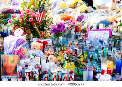 Las Vegas, USA - OCT 07 ,2017 : Dedicated flower bed of the Las Vegas Shooting victims attend a candlelight vigil on the Las Vegas Strip Near the Mandalay Bay.