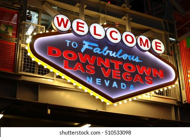 LAS VEGAS, USA - Oct 08: Welcome to Fabulous Downtown Las Vegas sign at Fremont Street on October 08, 2016 in Las Vegas, USA.It is an internationally renowned resort city known primarily for gambling