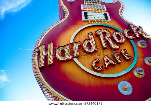 Las Vegas, USA - Oct 09, 2016: The Iconic sign of Hard Rock Cafe restaurant in Hard Rock Hotel Las Vegas,NV,USA. Hard Rock Cafe is a chain of theme restaurants.