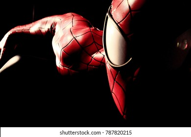 LAS VEGAS, USA - Oct 10, 2017: Close up Statue of Spider man at Madame Tussauds museum in Las Vegas.Avengers EndGame.