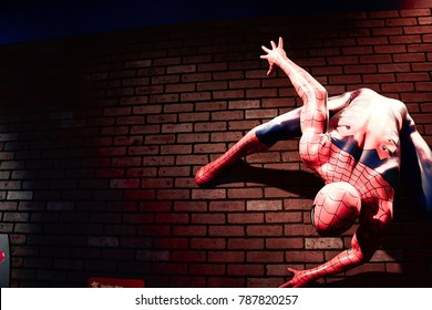 LAS VEGAS, USA - Oct 10, 2017: Close up Spider man, Madame Tussauds museum in Las Vegas.