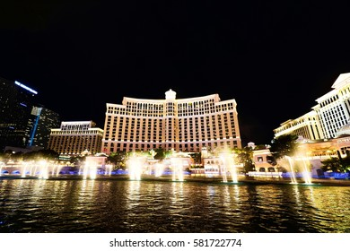 LAS VEGAS, USA - Oct 11: Fountains of Bellagio on Oct 11, 2016 in Las Vegas. Fountains of Bellagio, which have featured in several movies, is a large dancing water fountain synchronized to music.