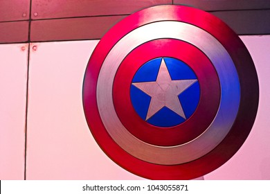 Las Vegas, USA - Oct 16, 2017: Shield of Captain America, Marvel cinematographic universe, at the Avengers experience in Treasure Island Hotel and Casino on Las Vegas Strip.