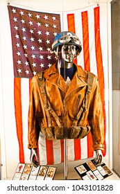 Las Vegas, USA - Oct 16, 2017: Captain America's costume,at the Avengers experience in Treasure Island Hotel and Casino on Las Vegas Strip.