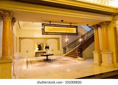 LAS VEGAS, USA - OCT 2, 2015: Hall in  the Caesar Palace Resort Casino in Las Vegas. This is one of the popular hotels on the Las Vegas Boulevard
