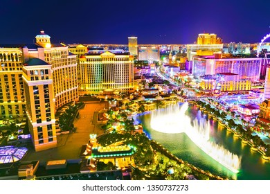 Las Vegas, USA - October 1, 2017 : View of the Las Vegas Boulevard at night with lots of hotels and casinos in Las Vegas on October 1, 2017.