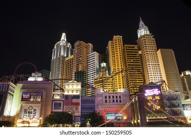 LAS VEGAS, USA - OCTOBER 1, 2012: Minature of New York in Las Vegas. The Las Vegas Strip with minatures from different cities is full of lights, glittering and shining all night.