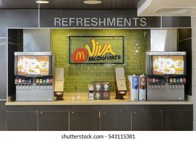 LAS VEGAS, USA - October 10, 2015: McDonald's restaurant in Las Vegas.  Self serve drink counter.