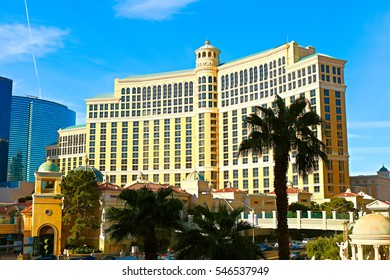 Las Vegas, USA - October 11, 2016:Photo taken beside of Bellagio Hotel at Las Vegas boulevard, with the City Center buildings beside it. Some sculptures of Caesar Palace Hotel on foreground.