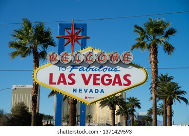LAS VEGAS, USA - OCTOBER 16, 2018: Welcome to the Fabulous Las Vegas sign, U.S. state of Nevada