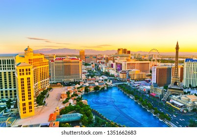 Las Vegas, USA - October 2, 2017 : View of the Las Vegas Boulevard at sunrise with lots of hotels and casinos in Las Vegas on October 2, 2017.