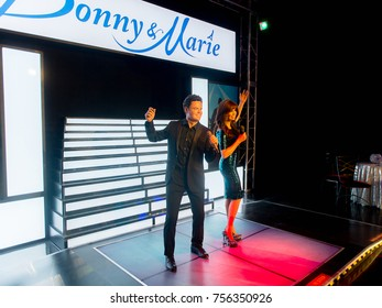 LAS VEGAS, USA - SEP 19, 2017: Donny and Marie Osmond, an American family music group, Madame Tussauds wax museum in Las Vegas Nevada.