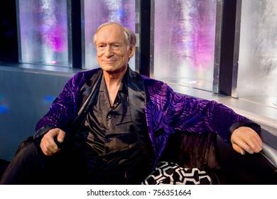 LAS VEGAS, USA - SEP 19, 2017: Hugh Marston Hefner, was the founder of Playboy, Madame Tussauds wax museum in Las Vegas Nevada.