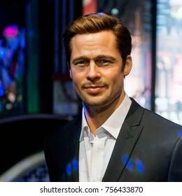 LAS VEGAS, USA - SEP 19, 2017: Brad Pitt, American actor, Madame Tussauds wax museum in Las Vegas Nevada.