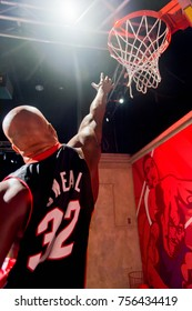 LAS VEGAS, USA - SEP 19, 2017: Shaquille O'Neal, an American retired professional basketball player and rapper, Madame Tussauds wax museum in Las Vegas Nevada.