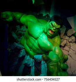 LAS VEGAS, USA - SEP 19, 2017: Hulk, Bruce Banner, Madame Tussauds wax museum in Las Vegas Nevada.