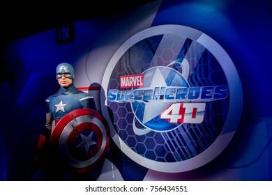 LAS VEGAS, USA - SEP 19, 2017: Captain America, Steve Rogers, Madame Tussauds wax museum in Las Vegas Nevada.