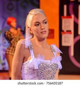 LAS VEGAS, USA - SEP 19, 2017: Gwen Stefani, an American singer, songwriter, fashion designer, actress, and television personality, Madame Tussauds wax museum in Las Vegas Nevada.