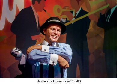 LAS VEGAS, USA - SEP 19, 2017: Frank Sinatra, Dean Martin, Sammy Davis Jr. inscription,  Madame Tussauds wax museum in Las Vegas Nevada.