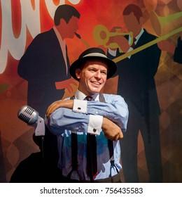 LAS VEGAS, USA - SEP 19, 2017: Frank Sinatra, Dean Martin, Sammy Davis Jr. inscription,  Madame Tussauds wax museum in Las Vegas Nevada.
