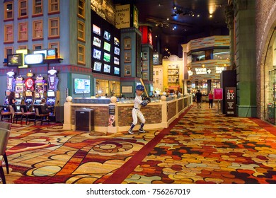 LAS VEGAS, USA - SEP 21, 2017: NY Yankee baseball player figure, New York-New York Hotel and Casino, Las Vegas Strip in Paradise, Nevada, United States