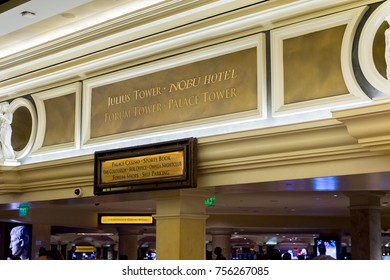 LAS VEGAS, USA - SEP 21, 2017: Decoration of the Caesars Palace, a AAA Four Diamond luxury hotel and casino, Las Vegas Strip, Paradise, Nevada, United States.