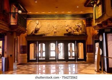 LAS VEGAS, USA - SEP 21, 2017: Entrance to the Treasure Island Hotel and Casino, Las Vegas Strip in Paradise, Nevada, United States