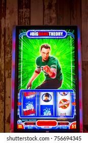 LAS VEGAS, USA - SEP 21, 2017: Jim Parsons as Sheldon Cooper, The Big Bang Theory, American TV sitcom, image on the casino machine in Excalibur Hotel in Las Vegas
