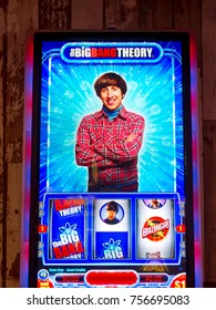 LAS VEGAS, USA - SEP 21, 2017: Simon Helberg as Howard Wolowitz, The Big Bang Theory, American TV sitcom, image on the casino machine in Excalibur Hotel in Las Vegas