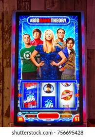 LAS VEGAS, USA - SEP 21, 2017: Leonard, Sheldon, Penny, Howard and Rajesh, The Big Bang Theory, American TV sitcom, image on the casino machine in Excalibur Hotel in Las Vegas