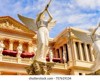 LAS VEGAS, USA - SEP 21, 2017: Roman goddess at the Caesars Palace Hotel and Casino, Las Vegas Strip in Paradise, Nevada, United States