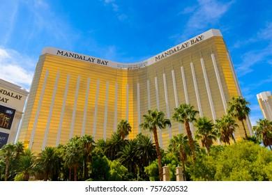 LAS VEGAS, USA - SEP 21, 2017: Mandalay Bay, a 43-story luxury resort and casino, Las Vegas Strip in Paradise, Nevada, United States