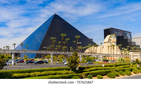 LAS VEGAS, USA - SEP 21, 2017: Sphinx and pyramid of Cheops, Luxor Resort and Casino Las Vegas Strip in Paradise, Nevada, United States