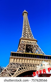 LAS VEGAS, USA - SEP 21, 2017: Eiffel Tower, Paris hotel and casino, Las Vegas Strip in Paradise, Nevada, United States