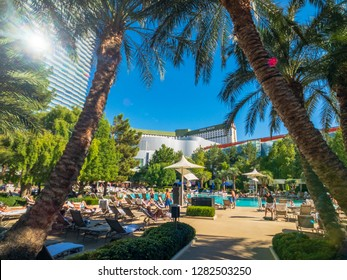 Las Vegas, USA - September 10, 2018: People relaxing at the pool near Aria hotel