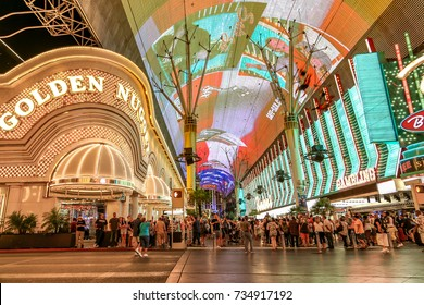 LAS VEGAS, USA - SEPTEMBER 10, 2017: Golden Nugget Casino on Fremont Street, built in 1946 it is one of the oldest casinos in Las Vegas.