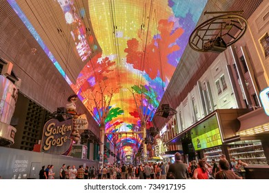 LAS VEGAS, USA - SEPTEMBER 10, 2017: Fremont Street Experience in Downtown Las Vegas, an entertainment and gaming destination for tourists.